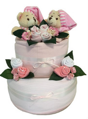 Twin Baby Girls Nappy Cake
