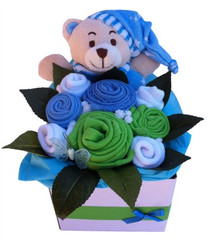 Baby bouquets in blue green and white colours