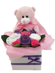 Baby girl bouquet and teddy bear