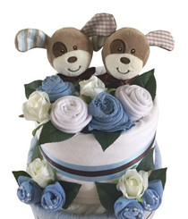 Baby Boy Twin Nappy Cake