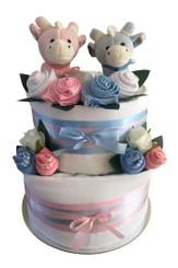 Newborn twin  nappy cake