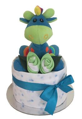 Giraffe rattle nappy cake boy
