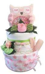 Adorable Girl Nappy Cake Owl