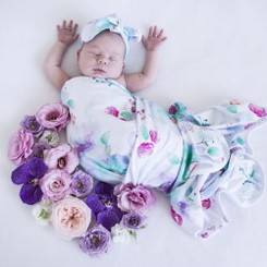 Sweet Petal Baby Jersey Wrap & Topknot Set