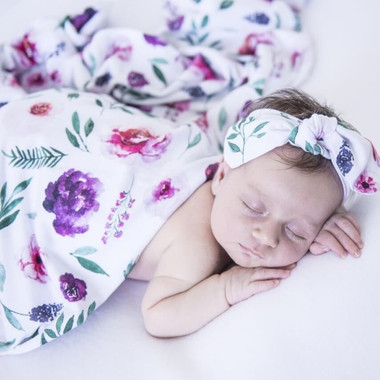 Peony Bloom Baby Jersey Wrap & Topknot Set
