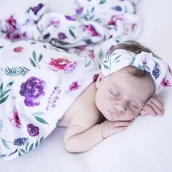 Peony Bloom Baby Jersey Wrap & Topknot Set