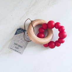 Red wooden silicone teether
