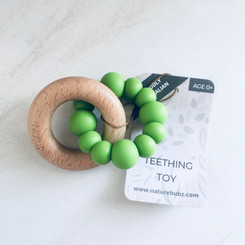 Green wooden silicone teether