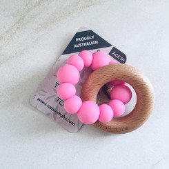 Pink wooden teether