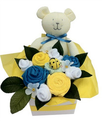 Baby boy bouquet in yellow , blue and white