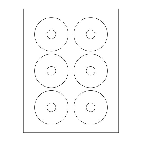 Adtec Labels 6 Up 3 inch Avery Full Face CD-DVD 30pk