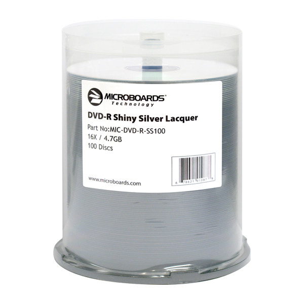 DVD-R Microboards 16x Shiny Silver Lacquer 100pk