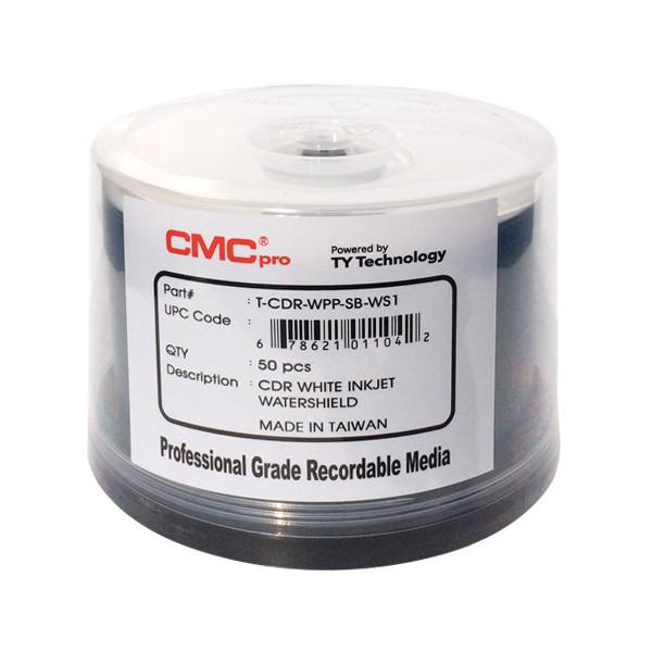 CMC PRO CD-R 48X Watershield Glossy White Inkjet Hub Printable - 50PK