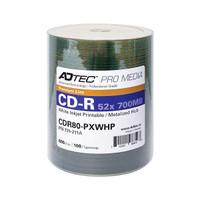 Adtec CD-R 52X White Inkjet Printable with Metalized Hub - 100PK