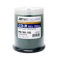 CD-R Adtec 52X Professional Quality - Silver Laquer/Metalized Hub in Cake Box- 100PK **Levy Included**