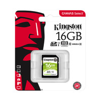 Bring your HD videos to life.      Kingston's Canvas Select™ SD card is designed to be reliable, making it ideal for filming in HD and shooting hi-resolution photos on your point-and-shoot camera. This card is tested to be durable1, so you can take it anywhere with confidence that your photos, videos and other data will be protected. It's available in multiple capacities up to 128GB2, to provide plenty of space to capture life's adventures.         16GB Capacity         Class 10 UHS-I speeds up to 80MB/s read         Built and tested to withstand harsh environments