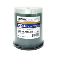 CD-R ADTEC 52X Professional Grade - Silver Laquer/Metalized Hub in Cake Box- 100PK **Levy Included**