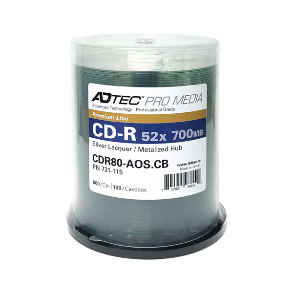 ADTEC CD-R 52X Professional Grade - Silver Lacquer / Metalized Hub - 100PK