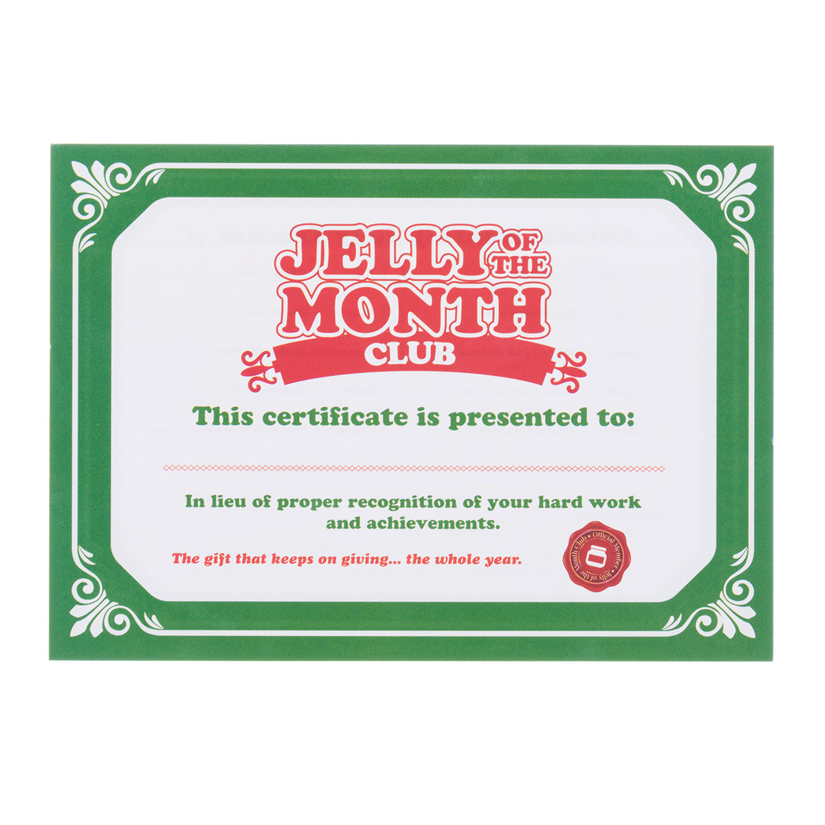 Jelly Of The Month Club Christmas Vacation Certificate Superbo