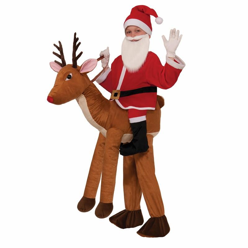 Santa Rides A Reindeer Costume Kids