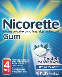Nicorette Gum White Ice Mint 4mg 100 ct -Catalog - Bob-Bila