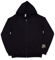 Black zipper front American Apparel Hoodie with Green 9th Wave Gallery Logo.