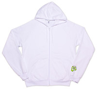 White zipper front American Apparel Hoodie with Green 9th Wave Gallery Logo.
