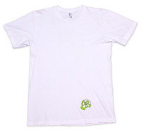 White American Apparel Men's Tee Shirt with green 9th Wave Gallery Logo.