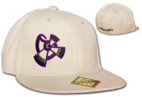 Our Flat Bill Fitted Hat features the 9th Wave logo on the front and 9th Wave Gallery text on the back.  OttoFit flat bill flex fit hat is available in tan with purple and black embroidered logo and text.