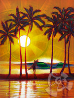 It is a special moment for a surfer when they get to experience perfect waves all to their lonesome. This painting is inspired by the few perfect sunset sessions I have had in my life at the oceans edge.