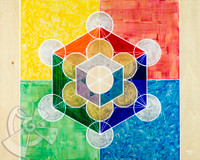 Metatron's Cube can be conceived by joining all the centers of each circle that make up the Fruit of Life. It contains every shape that exists in the universe, and those shapes are the building blocks of all physical matter, which are known as Platonic solids. It also contains a cube within a cube, which alludes to a 4th Dimensional space.