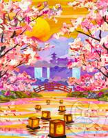 Floating Lantern Sakura Collage - Sukura Series #2 by Patrick Parker