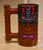 One of a kind red ceramic Tiki Mug 100% made in Hawaii hand painted by Shannon O'Connell. Features a special glow in the dark blacklight paint and is selected directly from Shannon's private collection.