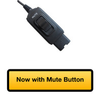 Close-up view of in-line Mute Button with Quick Disconnect