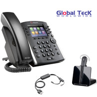 Polycom IP Phone VVX 411 (12-lines) Office Deluxe Bonus Bundle with Plantronics Cordless Headset - CS540- Desk Headset and Bonus Remote Answering EHS Adapter