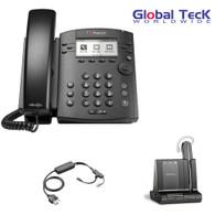 Polycom IP Phone VVX 311 (6-lines) Office Deluxe Bonus Bundle with Plantronics Cordless Headset - Savi W740- Desk/PC/Mobile Headset and Bonus Remote Answering EHS Adapter