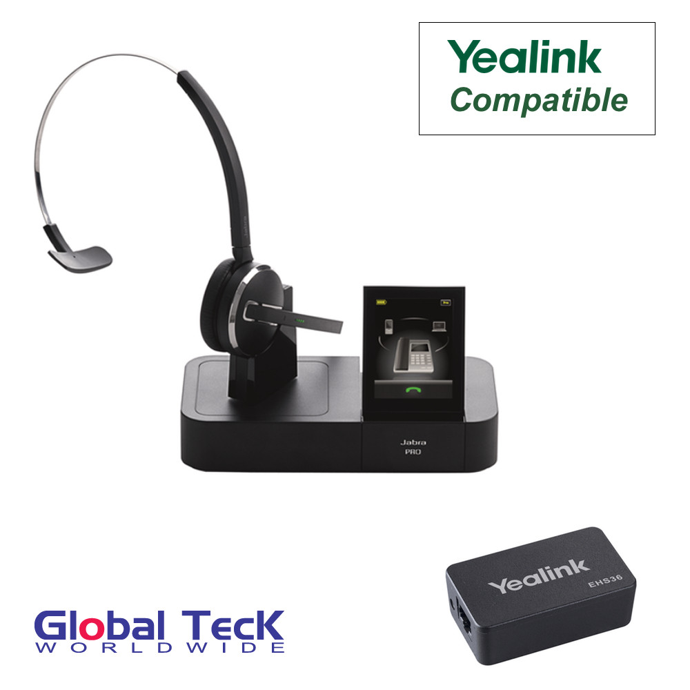 Yealink Phone Compatible Jabra PRO 9470 Bundle with EHS Remote Answering  Adapter | Triple Usage - Desk/Mobile/PC | Records Calls
