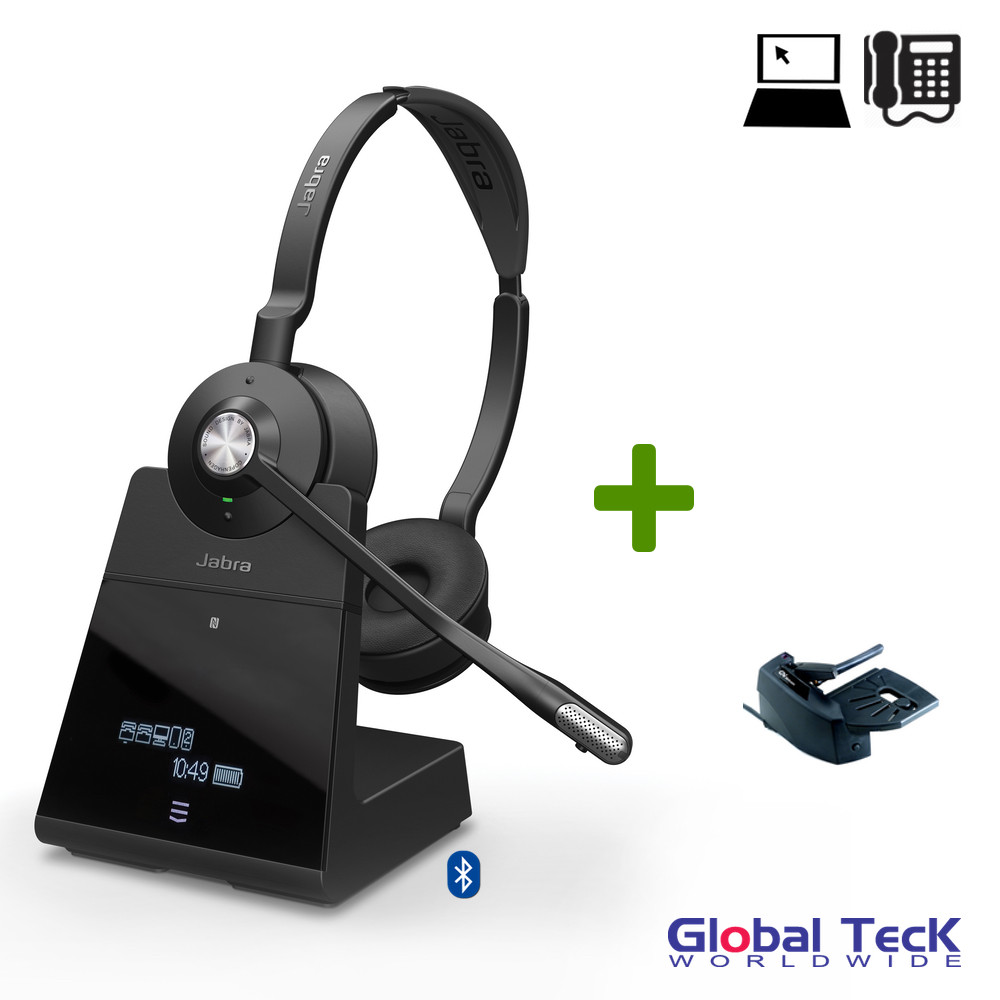 c6c320a49c4 Jabra Engage 75 Wireless Stereo Headset Bundle #9559-583-125-B | Bluetooth,  PC, Deskphone, Mobile, USB, NFC, DECT | Skype Certified - Lifter Included|  ...