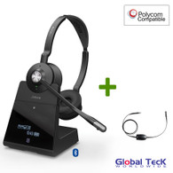 Polycom Compatible Jabra Engage 75 Wireless Headset Bundle with EHS Adapter