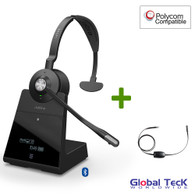 Polycom Compatible Jabra Engage 75 Wireless Mono Headset Bundle with EHS Adapter