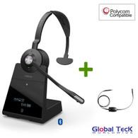 Polycom Compatible Jabra Engage 75 Wireless Mono Headset Bundle with EHS Adapter