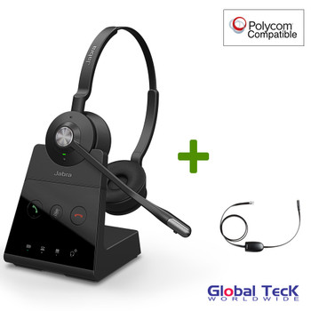 Polycom Compatible Jabra Engage 65 Wireless Duo Headset Bundle with EHS Adapter