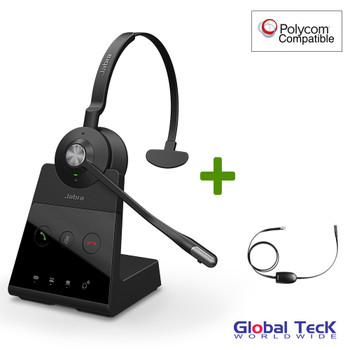 Polycom Compatible Jabra Engage 65 Wireless Mono Headset Bundle with EHS Adapter