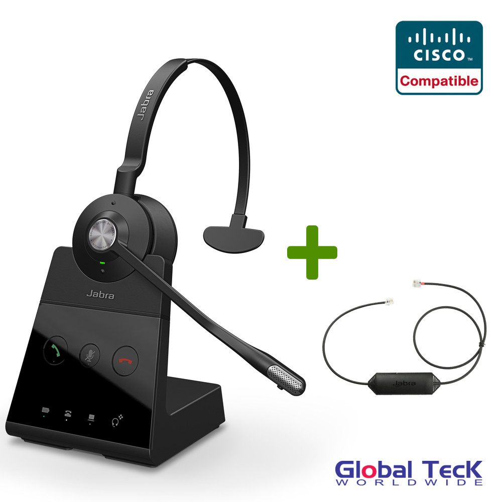 Cisco Compatible Jabra Engage 65 Wireless Mono Headset Bundle with EHS  Adapter, 9553-553-125-CIS | Cisco IP-Phones, Jabber, Spark, Finesse, CIPC,