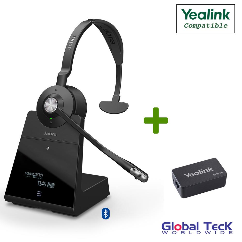 Yealink Compatible Jabra Engage 75 Wireless Mono Headset Bundle with EHS  Adapter, 9556-583-125-YEA | SIP-IP T-Series Desk Phones, Bluetooth, PC/MAC,