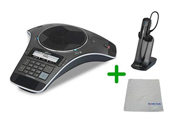 VTECH | VCS752 SIP Conference Speakerphone with 2 Wireless Mics | VH6012 Cordless Headset with Microfiber Cleaning Cloth (VTECH-VCS752-VH6102-B)