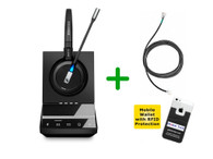 Mitel Compatible Sennheiser SDW 5015 Wireless Headset Bundle with Mitel EHS Adapter | Mitel Phones, PC/MAC | Compatible with Mitel IP telephones 6865, 6867, 6869, 6871, 6873 | DHSG Adapter for Remote Answering (SEN SDW5015-MTL)