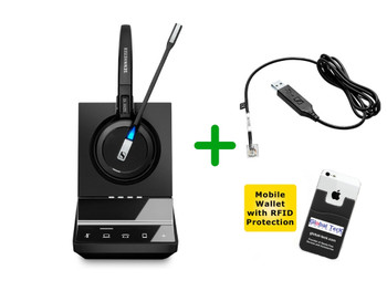 Cisco Compatible Sennheiser SDW 5015 Wireless Headset Bundle - Deskphones and PC/MAC, Cisco EHS Included | Cisco Models: 8851, 8861, 8865, 8961, 9971, 9951 | Bonus Mobile Wallet Holder (SEN SDW5015-CIS2)