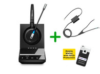 Cisco Compatible Sennheiser SDW 5015 Wireless Headset Bundle - For Cisco Deskphones and PC/MAC - Cisco Models: Cisco 8941 and 8945 | Includes Remote Answering (EHS) and Bonus Mobile Wallet Holder (SEN SDW5015-CIS4)