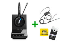 ShoreTel Compatible Sennheiser SDW 5015 Wireless Headset Bundle - For ShoreTel Deskphones, PC/MAC, includes ShoreTel EHS Adapter | Compatible ShoreTel IP Phones: (SEN SDW5015-SHL)
